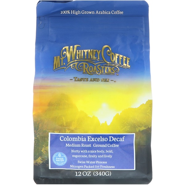 Mt、 Whitney Coffee Roasters, Columbia Excelso Decaf, Ground Coffee, 12 oz (340 g)
