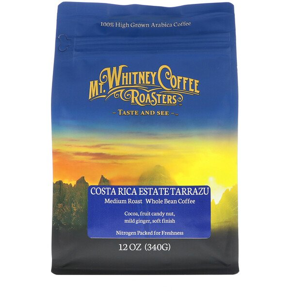 Costa Rica Estate Tarrazu, Medium Plus Roast, Whole Bean Coffee, 12 oz (340 g)