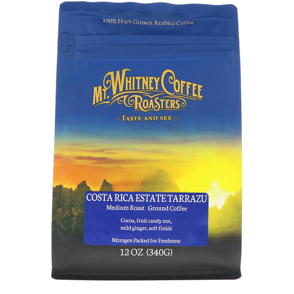 Mt. Whitney Coffee Roasters, Costa Rica Estate Tarrazu, Medium Roast, Ground Coffee, 12 oz (340 g) (Discontinued Item)