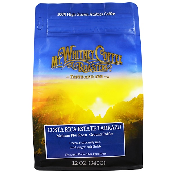 Mt. Whitney Coffee Roasters, Costa Rica Estate Tarrazu, Medium Plus Roast, Ground Coffee, 12 oz (340 g) (Discontinued Item)