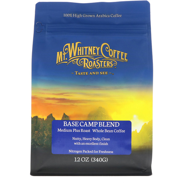 Mt. Whitney Coffee Roasters, Mezcla de campamento base, tostado medio adicional, grano integral de café, 12 oz (340 g) (Discontinued Item)