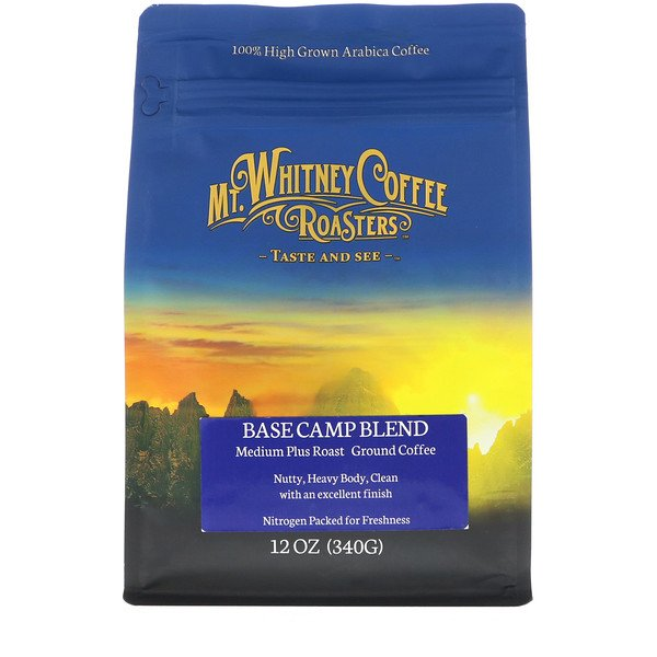 Mt. Whitney Coffee Roasters, Base Camp Blend, Medium Plus Roast, Ground Coffee, 12 oz (340 g) (Discontinued Item)