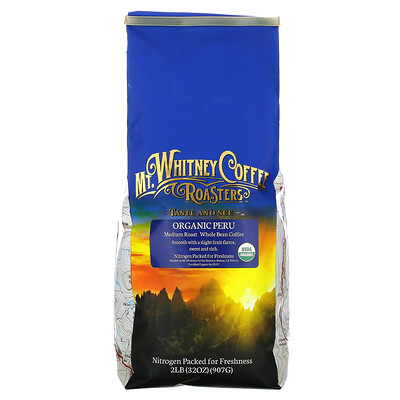 Mt. Whitney Coffee Roasters Organic Peru, Medium Roast, Whole Bean Coffee, 32 oz (907 g)