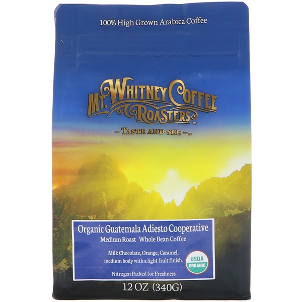 Mt. Whitney Coffee Roasters, Organic Guatemala Adiesto, Medium Roast Whole Bean Coffee, 12 oz (340 g)