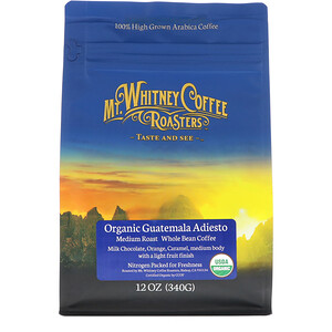 Мт Уитни Коффее Роастерс, Organic Guatemala Adiesto, Medium Roast, Whole Bean Coffee, 12 oz (340 g) отзывы покупателей