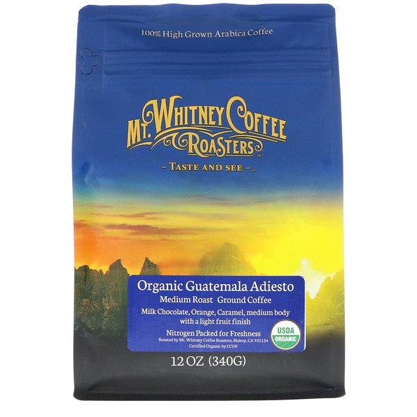 Mt. Whitney Coffee Roasters, Organic Guatemala Adiesto, Medium Roast Ground Coffee, 12 oz (340 g) (Discontinued Item)