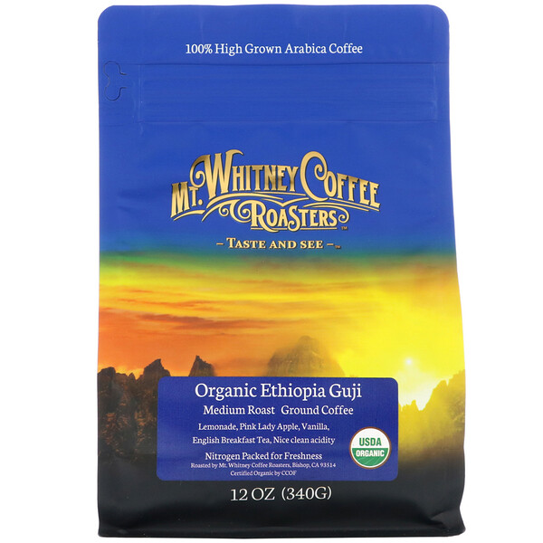 Organic Ethiopia Guji, Medium Roast, Ground Coffee, 12 oz (340 g)