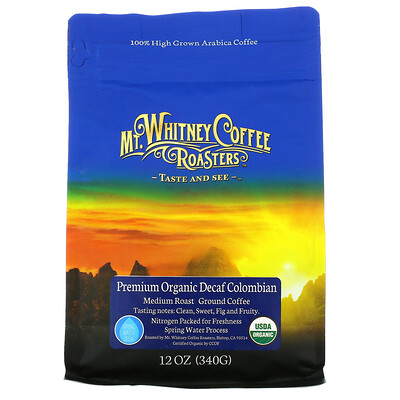 Купить Mt. Whitney Coffee Roasters Premium Organic Decaf Colombian, Medium Roast, Ground Coffee, 12 oz (340 g)