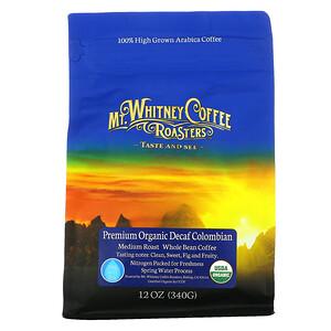 Mt. Whitney Coffee Roasters, Premium Organic Decaf  Colombian, Medium Roast Whole Bean Coffee, 12 oz (340 g)