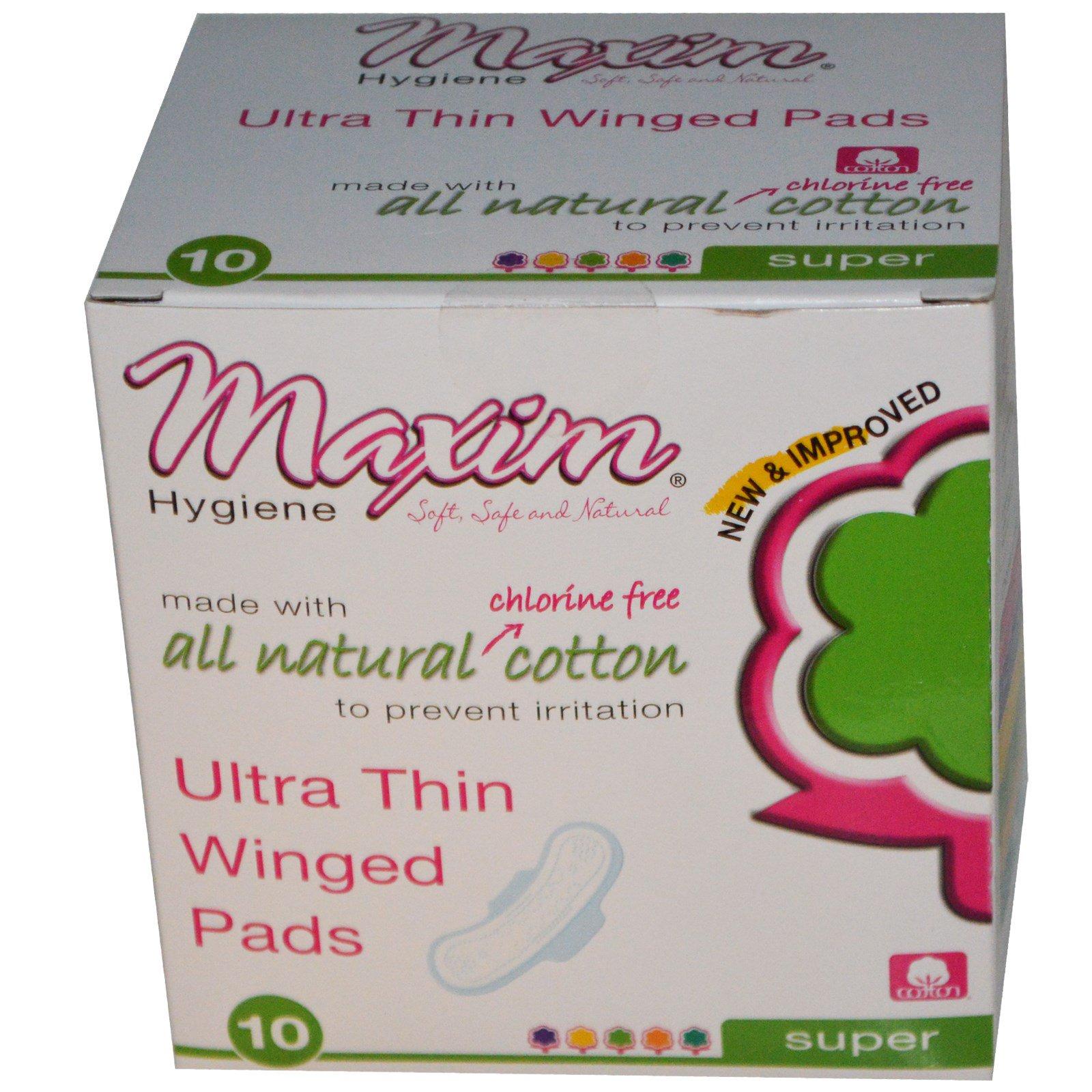 Maxim Hygiene Products, Ультратонкие прокладки с крылышками, супер, 10 прокладок