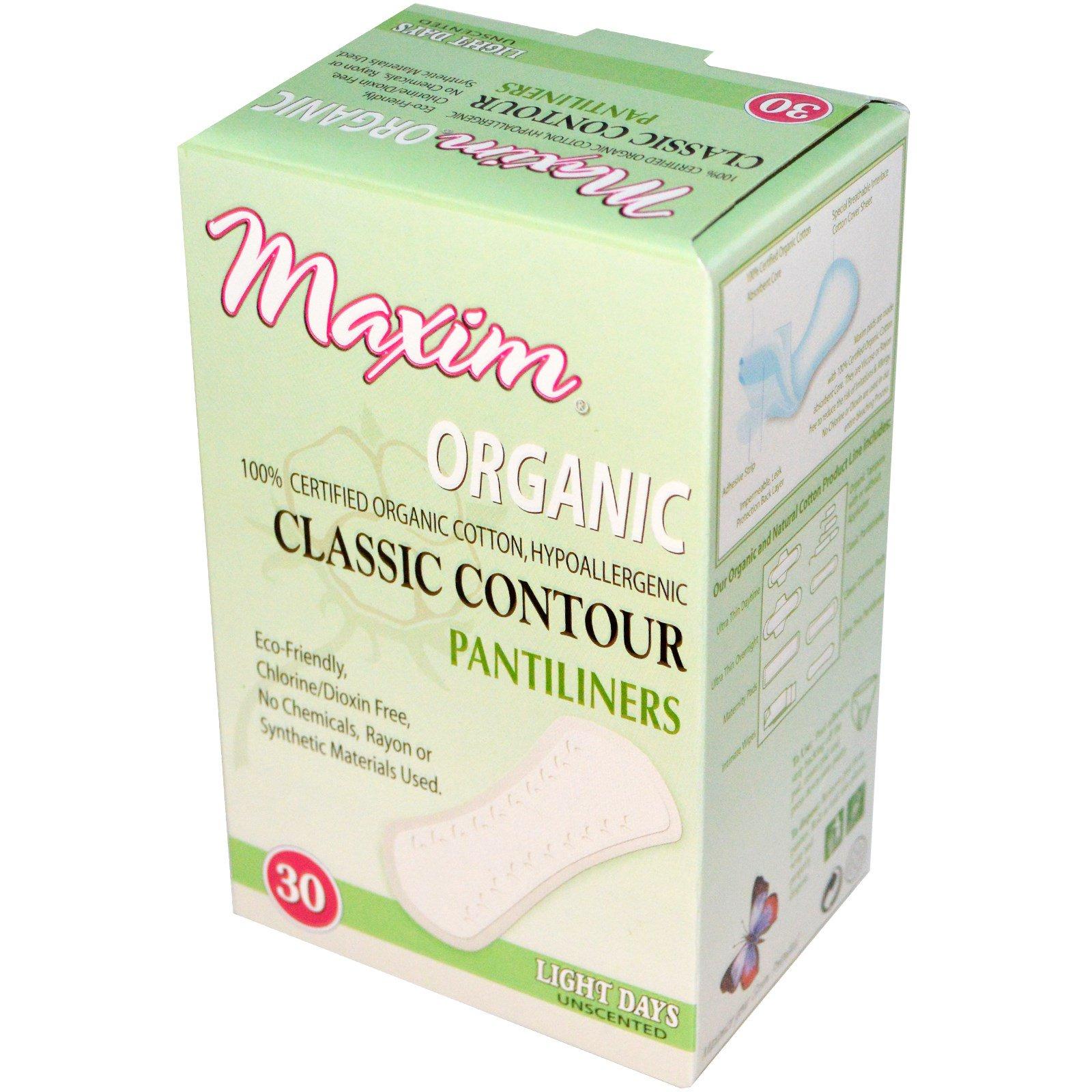 Maxim Hygiene Products, Органическая классическая контурная прокладка, светлые дни, без запаха, 30 прокладок