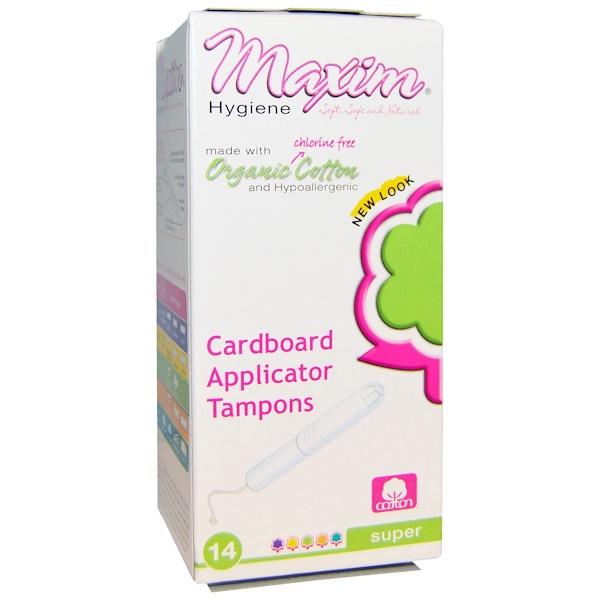 Maxim Hygiene Products, Органические хлопковые тампоны с картонным аппликатором, Супер, 14 тампонов (Discontinued Item)