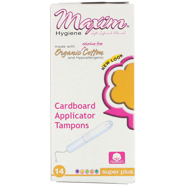 Maxim Hygiene Products, Organic Cotton Cardboard Applicator Tampons, Super Plus, 14 Tampons (Discontinued Item)