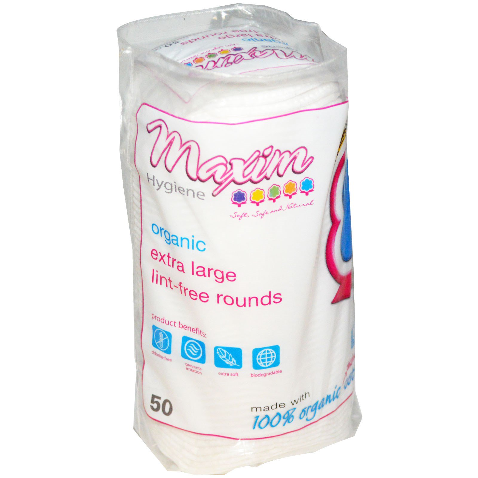 Maxim Hygiene Products, Органические большие безворсовые диски, 50 дисков