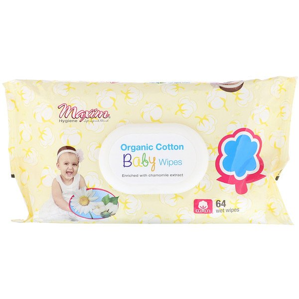Organic Cotton Baby Wipes, 64 Wet Wipes