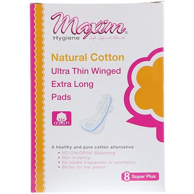 Maxim Hygiene Products Ultra Thin Winged Extra Long Pads, Super Plus, 8 Pads