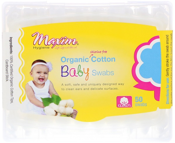 Maxim Hygiene Products, Organic Cotton Baby Swabs, 50 Swabs (Discontinued Item)