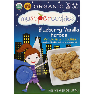 MySuperCookies, Whole Grain Cookies, Blueberry Vanilla Heroes, 6.25 oz (177 g)