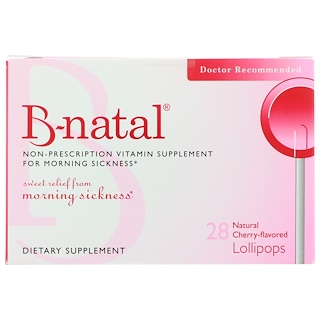 B-natal, Non-Prescription Vitamin Supplement For Morning Sickness, Natural Cherry-Flavored, 28 Lollipops