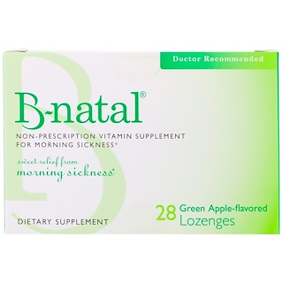 B-natal, Non-Prescription Vitamin Supplement, For Morning Sickness, Green Apple-Flavored, 28 Lozenges