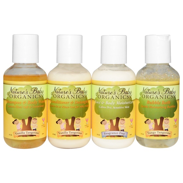 Nature's Baby Organics, Refreshing Vanilla Tangerine Trial & Travel Kit, 4 Bottles, 2 fl oz Each (Discontinued Item)
