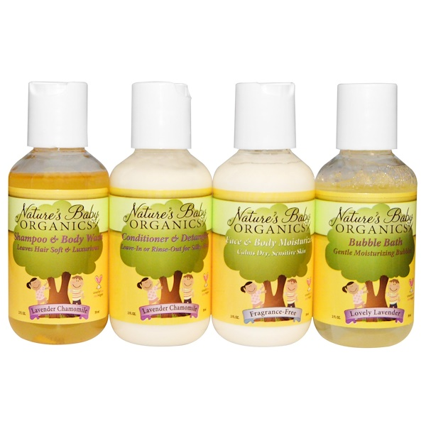 Nature's Baby Organics, Calming Lavender Chamomile Trial & Travel Kit, 4 Bottles, 2 fl oz Each (Discontinued Item)
