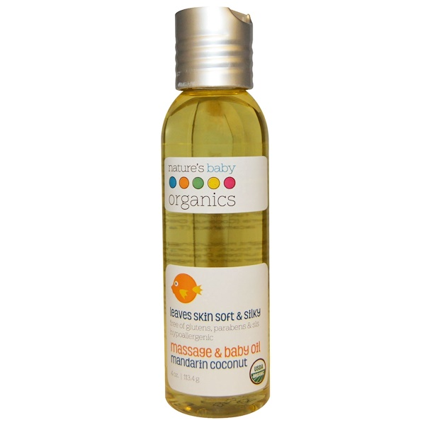 Organic, Massage & Baby Oil, Mandarin Coconut, 4 oz (113.4 g)