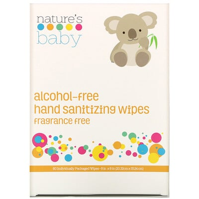 Купить Nature's Baby Organics Hand Sanitizing Wipes, Alcohol Free, Fragrance Free, 60 Individually Packaged Wipes