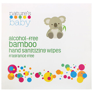 Nature's Baby Organics, Bamboo Hand Sanitizing Wipes, Alcohol-Free , Fragrance Free, 60 Individually Packaged Wipes