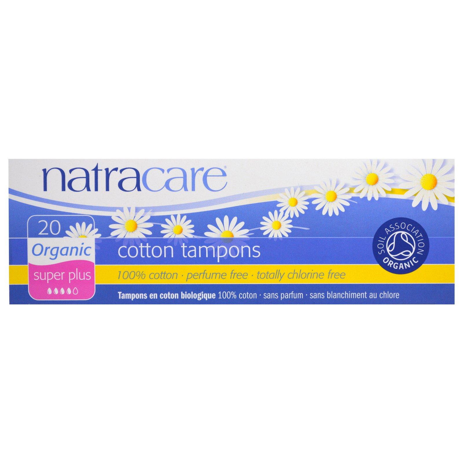 Natracare, Органические хлопковые тампоны, супер плюс, 20 тампонов