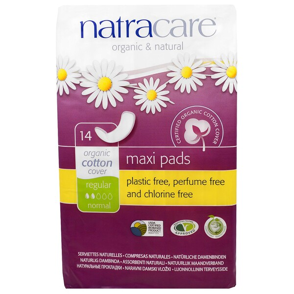 Natracare, Maxi Pads, Regular/Normal, 14 Regular Pads