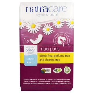Natracare, Organic & Natural Maxi Pads, 12 Super Pads