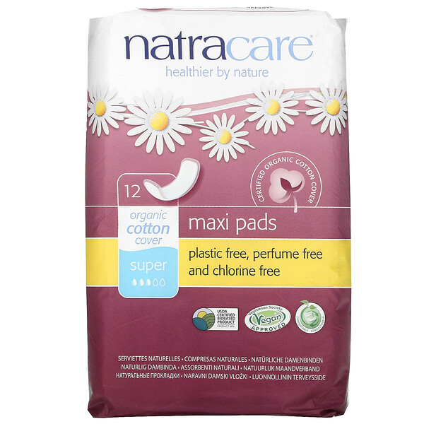 Natracare, Organic Cotton Cover, Maxi Pads, Super, 12 Super Pads