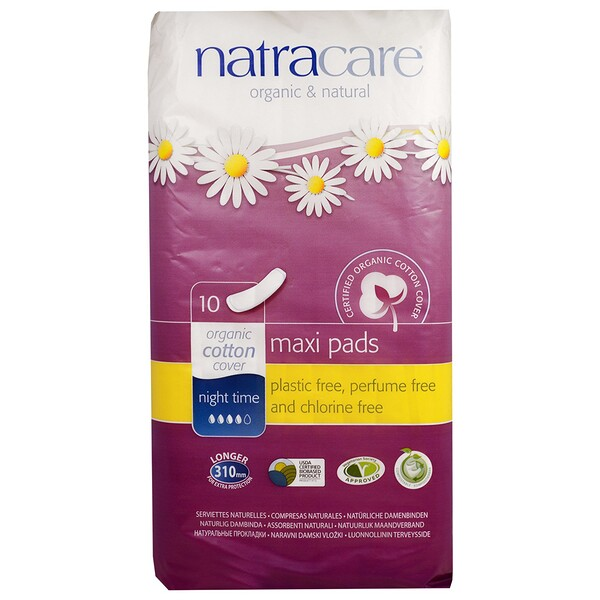 Natracare, Maxi Pads, Night Time, 10 Pads