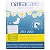 Natracare, ウルトラパッド, 有機綿カバー, レギュラー, ノーマル, 14パッド