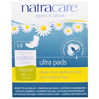 Natracare, Serviettes ultra, Revêtement en coton biologique, Flux normal, 14 Serviettes