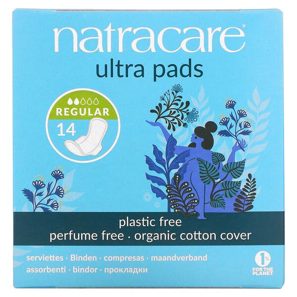 Natracare, תחבושות היגייניות 'Ultra Pads', עם מעטפת עליונה מכותנה אורגנית, רגיל, 14 תחבושות היגייניות