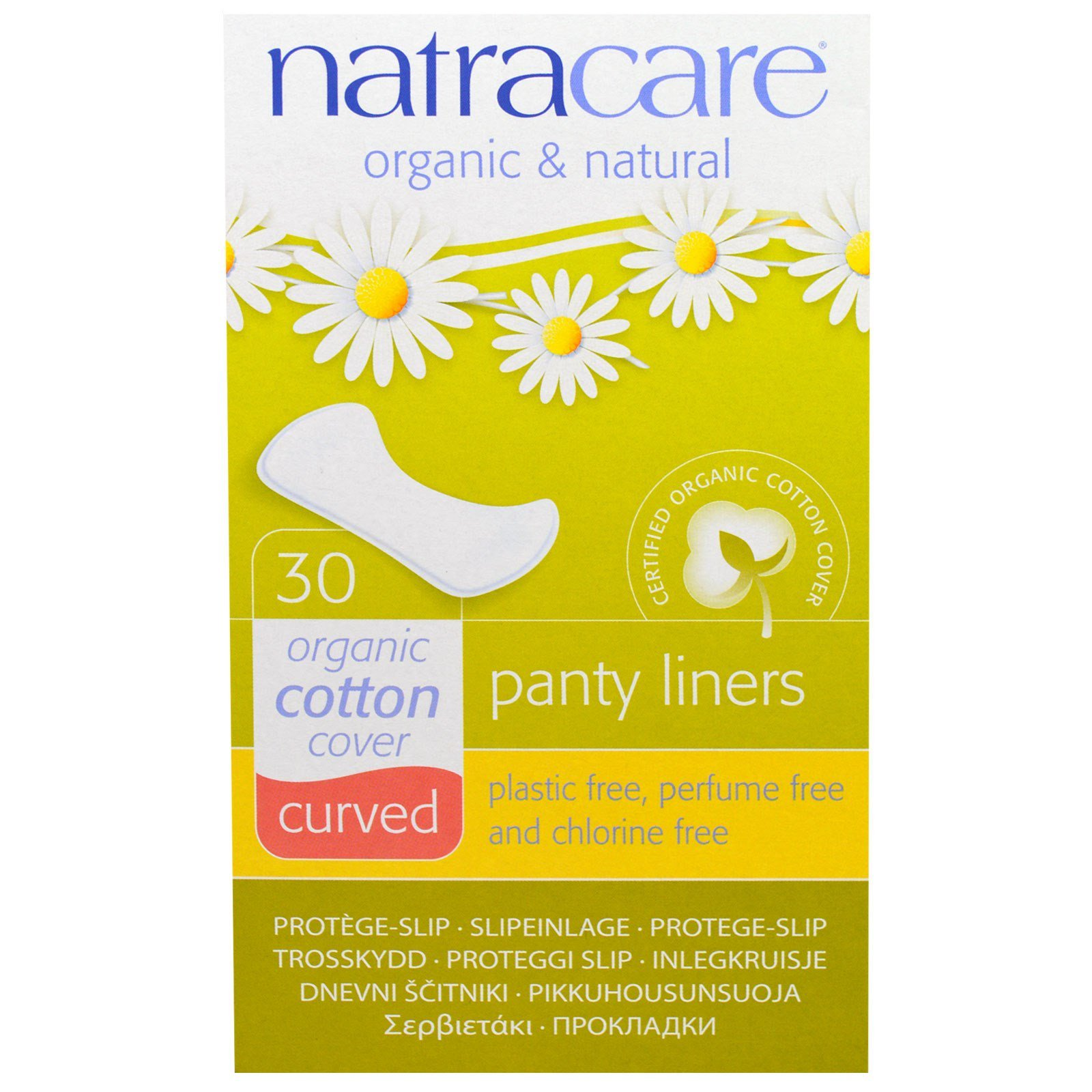 natracare, organic & natural panty liners, curved, 30 liners - iherb