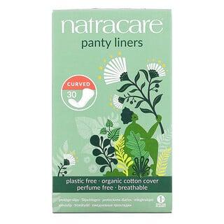 Natracare, فوط صحيّة للاستخدام اليومي، ببطانة من القطن العضوي، منحنية، 30 فوطة صحية