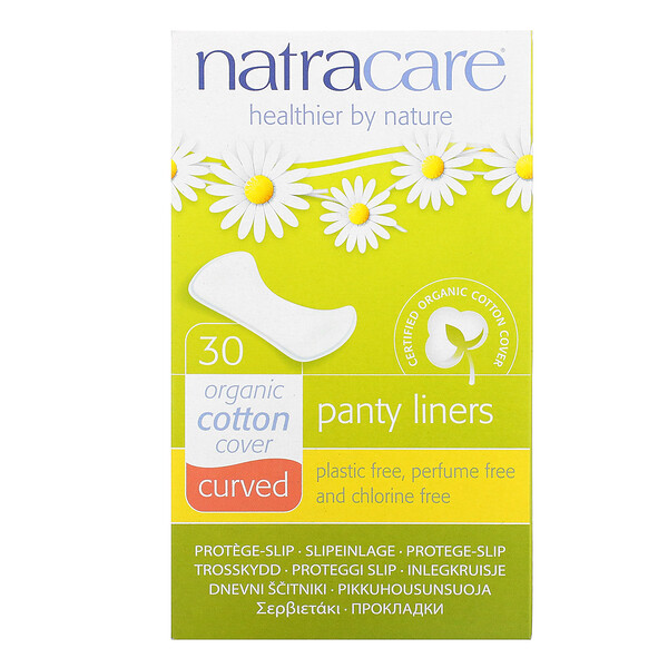 Natracare, Panty Liners, Organic Cotton Cover, Curved, 30 Liners