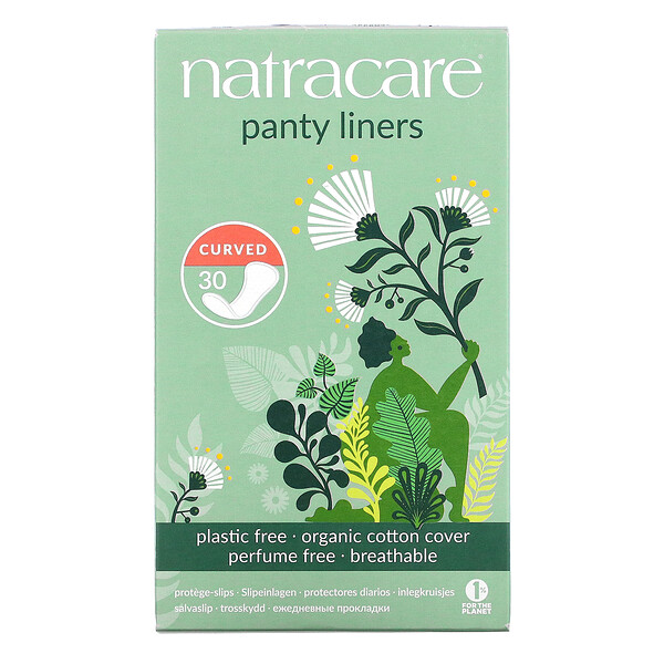Panty Liners, Organic Cotton Cover, Curved, 30 Liners