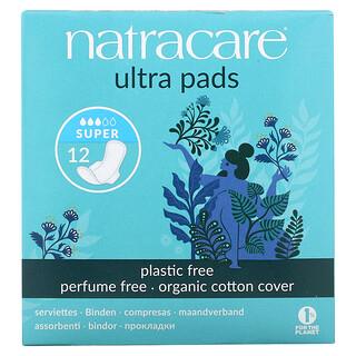 Natracare, فوط صحية فائقة، غطاء قطني عضوي، كبير، 12 فوطة