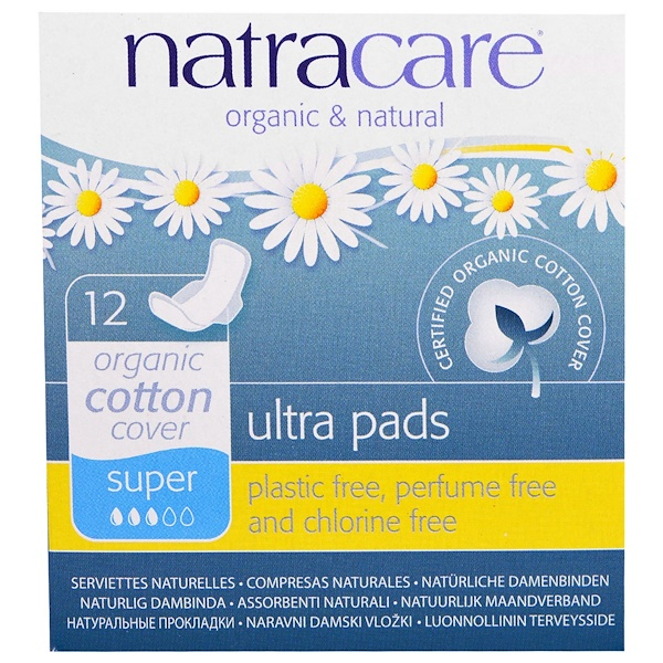 Ultra Pads, Organic Cotton Cover, Super, 12 Pads