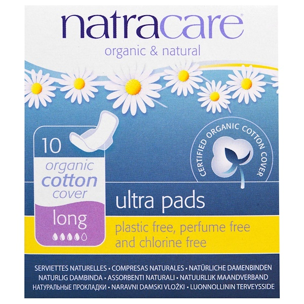 Ultra Pads, Organic Cotton Cover, Long, 10 Pads