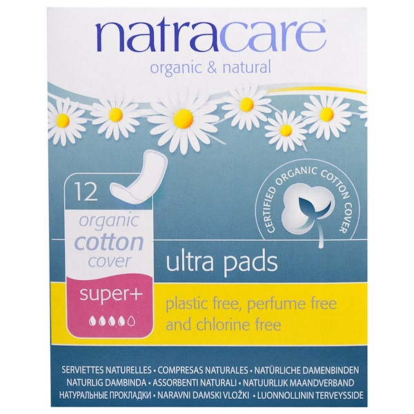 Ultra Pads, Organic Cotton Cover, Super+, 12 Pads
