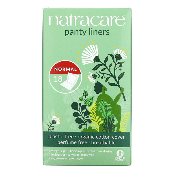 Panty Liners, Organic Cotton Cover, Normal, 18 Liners