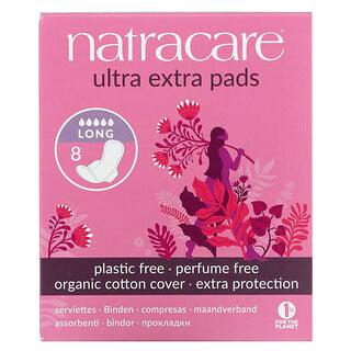 Natracare, 超級衛生巾,有機棉套,加長,8 片