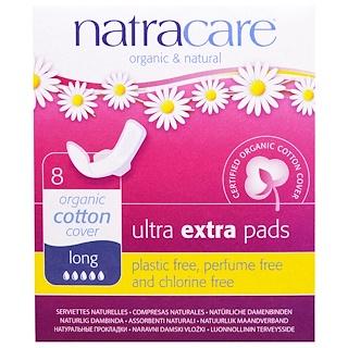 Natracare, Органические и натуральные прокладки Ultra Extra, длинные, 8 прокладок