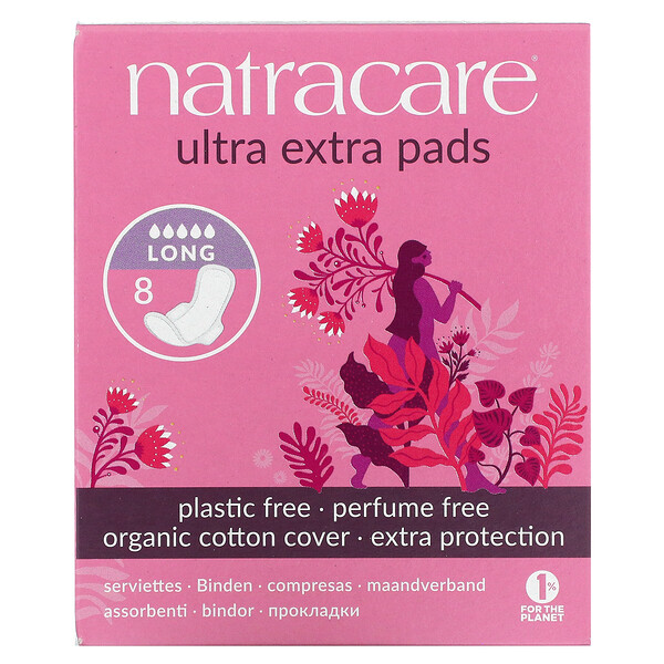 Ultra Extra Pads, Organic Cotton Cover, Long, 8 Pads