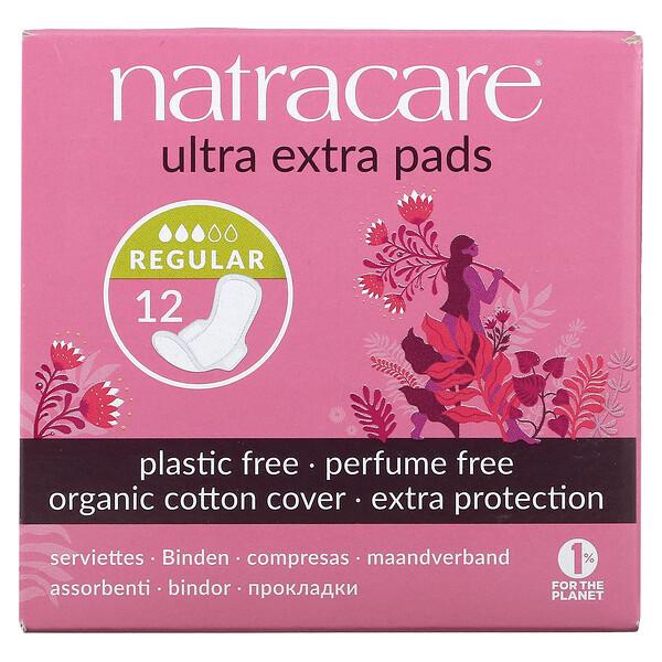 Ultra Extra Pads, Organic Cotton Cover, Regular, 12 Pads
